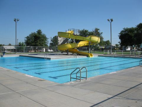 Municipal Pool with yellow slide